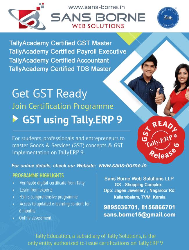 TallyAcademy Certified Courses With GST